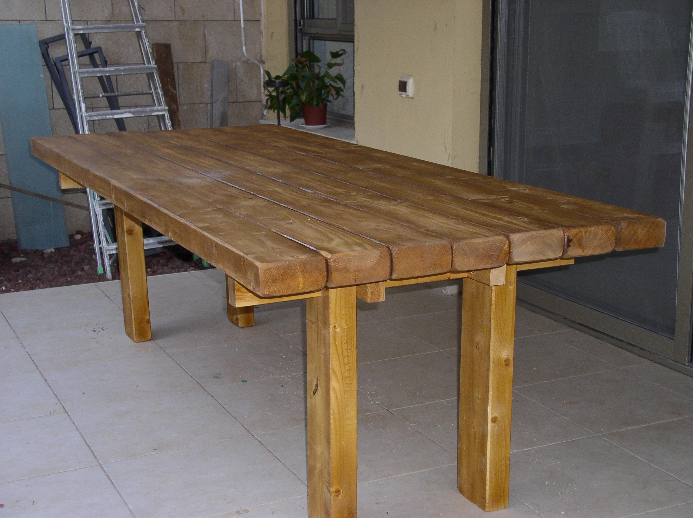 מפוארת שולחן אוכל לגינה מעץ מלא   ריהוט גן דרך העץ JQ-26