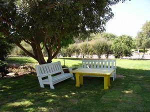 שני ספסלים נמוכים ושולחן